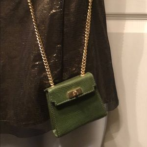 Bloomingdales Green Leather mini bag chain straps